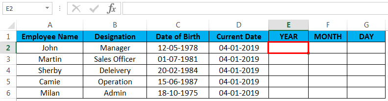 calculate age in excel example 2.2