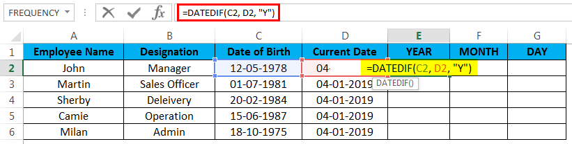 calculate age in excel example 2.3