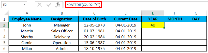 calculate age in excel example 2.4