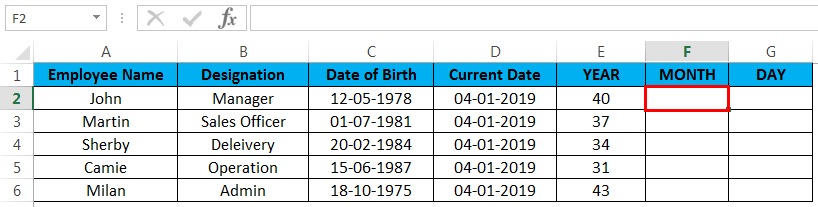 calculate age in excel example 3