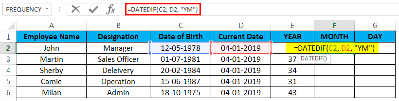 calculate age in excel example 3.2