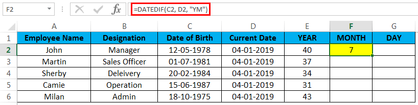 calculate age in excel example 3.3