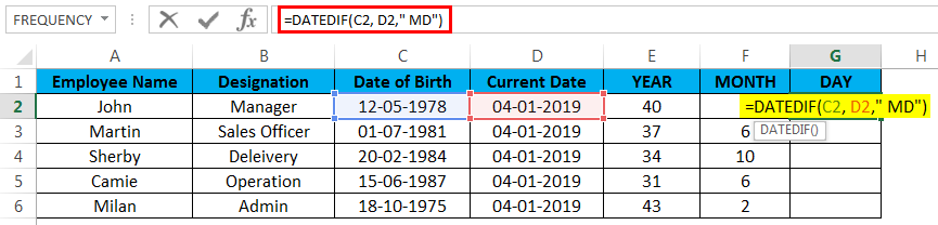 calculate age in excel example 4.2