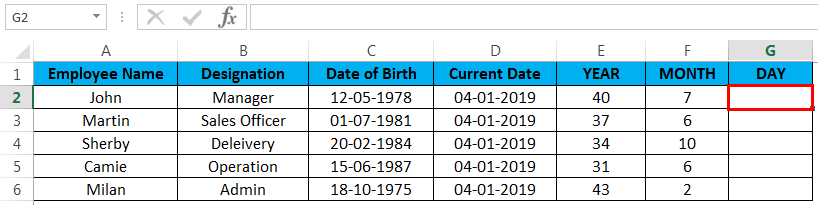 calculate age in excel example 4