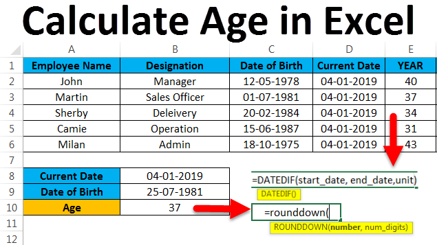 Calculate Age in Excel (Examples) | How to Calculate Age?