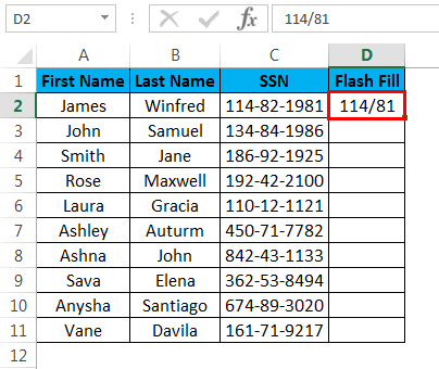 flash fill example 3.3