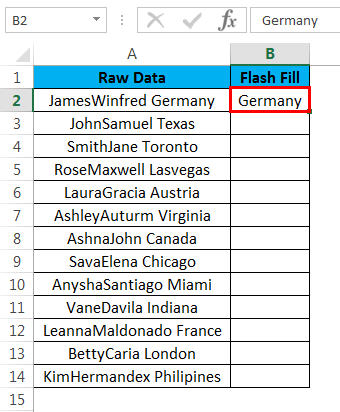 flash fill example 4.2