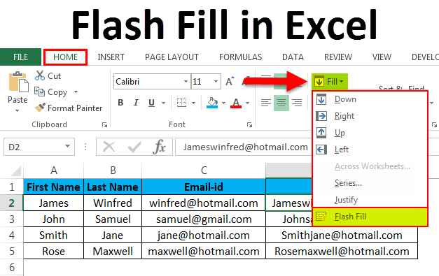 Flash Fill in Excel (Examples) | How to apply Flash Fill ?