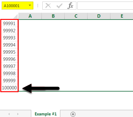 row excel limit step 4
