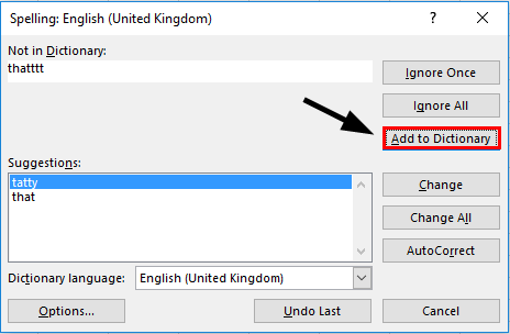 Spelling check in excel - Add to Dictionary