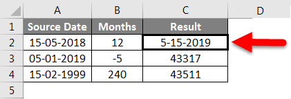Adding Months to Dates in Excel example 2-8