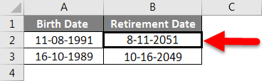 Adding Months to Dates in Excel example 3-3