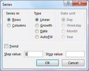 Autonumbering in Excel example 2-4