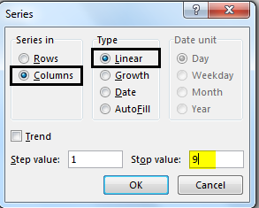 Autonumbering in Excel example 2-5