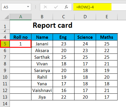 Autonumbering in Excel example 4-2