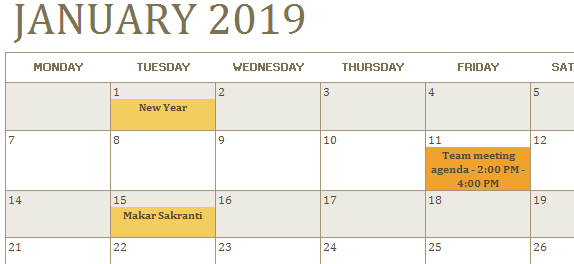 Calendar in Excel example 1-12