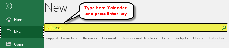 Calendar in Excel example 1-2
