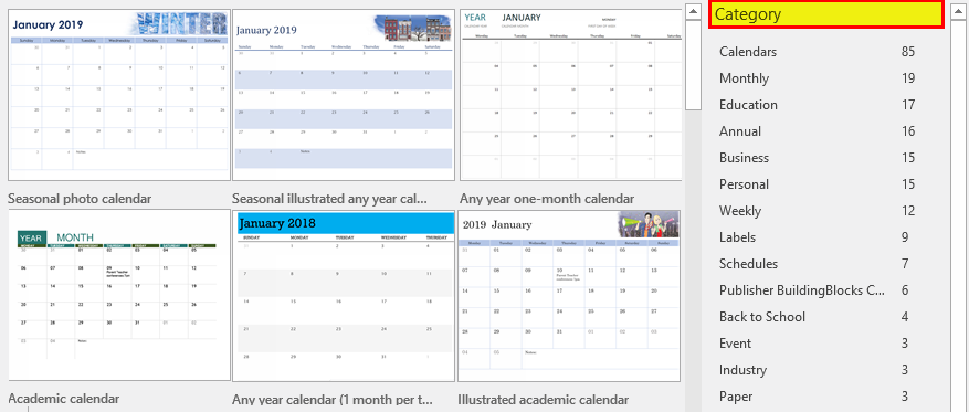 Calendar in Excel example 1-3