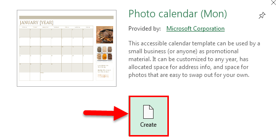 Calendar in Excel example 1-5