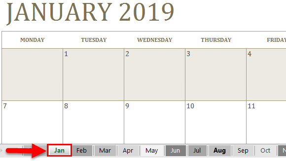 Calendar in Excel example 1-7