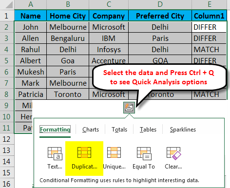 Compare Text Excel Example 4-1