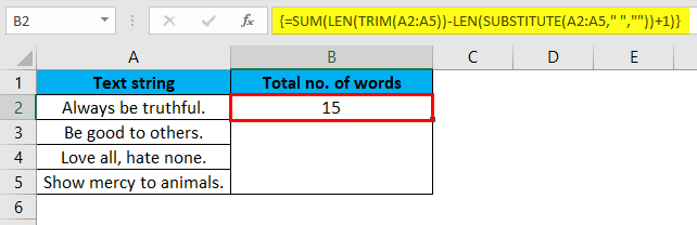 Total Number of Words in a Range