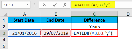 DATEDIF Function Example 1-1