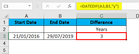 DATEDIF Function Example 1-2