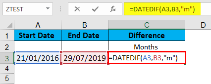 DATEDIF Function Example 2-1