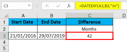 DATEDIF Function Example 2-2