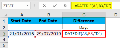 DATEDIF Function Example 3-1