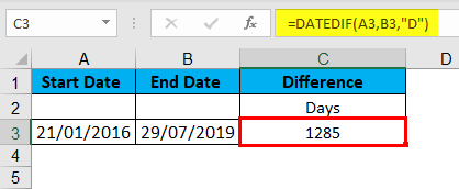 DATEDIF Function Example 3-2