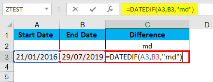 DATEDIF Function Example 4-1