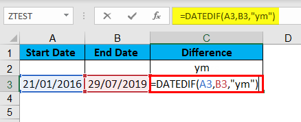 DATEDIF Function Example 5-1