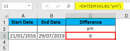 DATEDIF Function Example 5-2