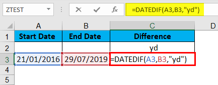 DATEDIF Function Example 6-1