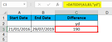 DATEDIF Function Example 6-2