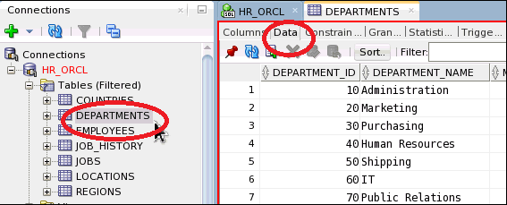 SQL DEPARTMENTS