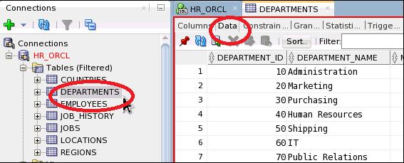 SQL DEPARTMENTS