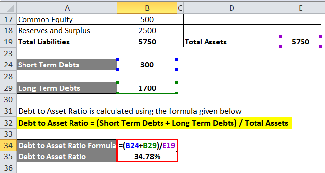 Debt to Asset Ratio Example 1-4