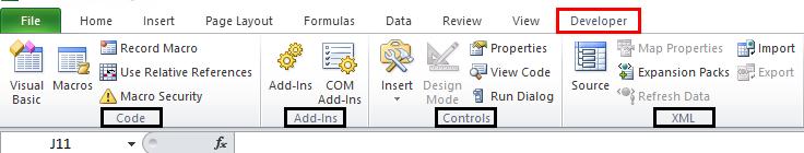 Developer Tab Example 1