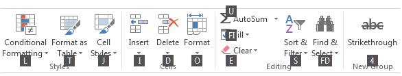 Excel Keyboard Shortcuts - Ribbon Tab 2