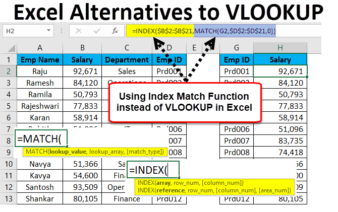 Excel Alternatives to VLOOKUP