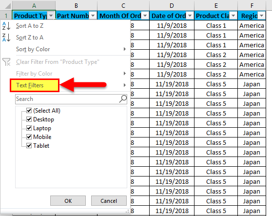 Excel Column Filter Example 1-10