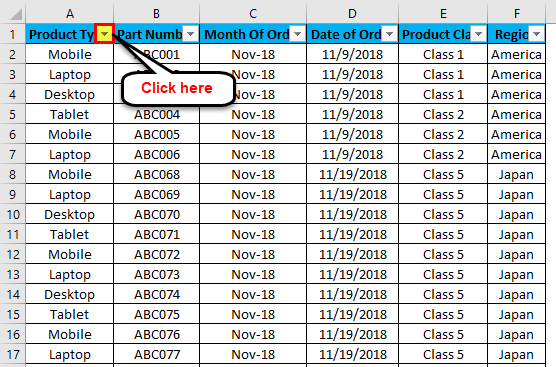 Excel Column Filter Example 1-9