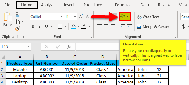 Excel Column Lock Example 2-1