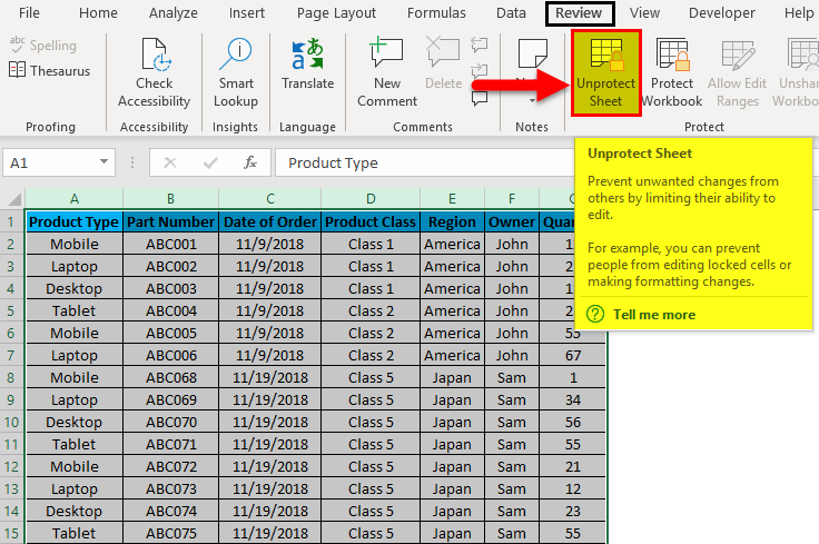 Excel Column Lock Example 2-11