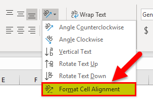 Click on Format Cell Alignment