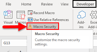 Excel Enable Macros Example 1-5