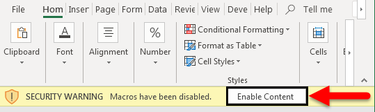 Excel Enable Macros Example 1-7